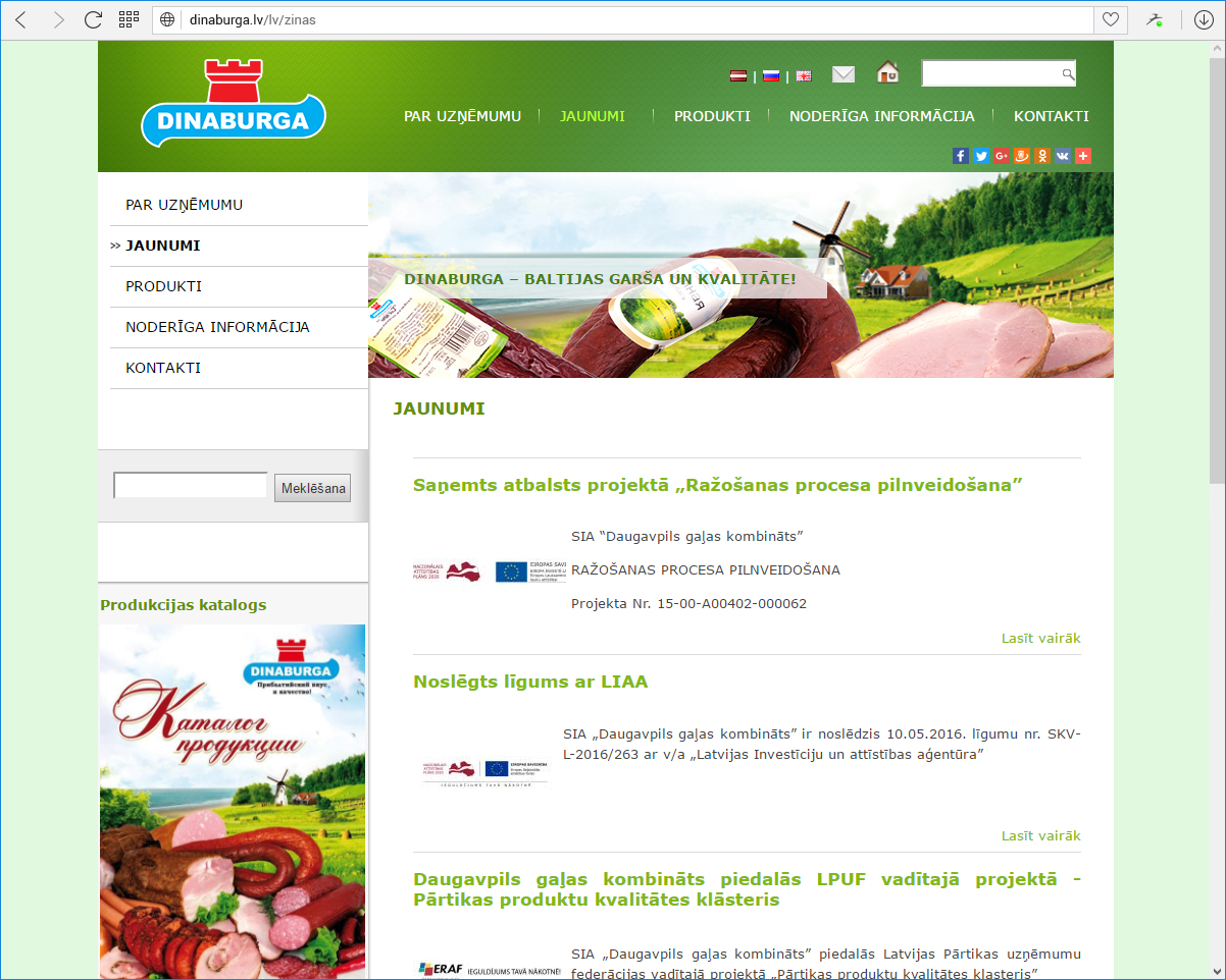Daugavpils gaļas kombināts Dinaburga - jaunumi