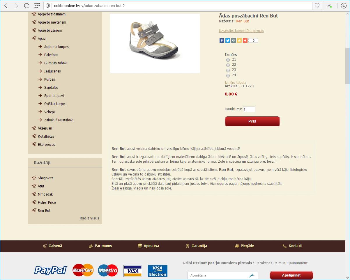 Colobri online - preces kartiņa
