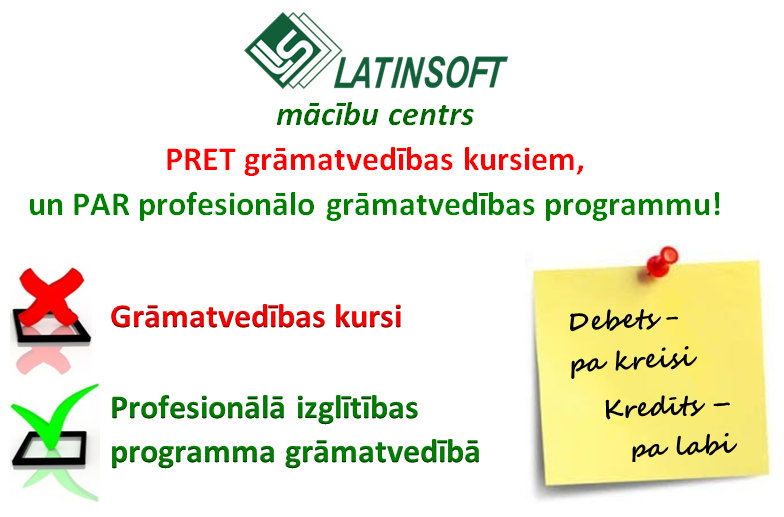 """""""LatInSoft"""" mācību centrs PRET grāmatvedības kursiem, un PAR profesionālo grāmatvedības programmu!"""