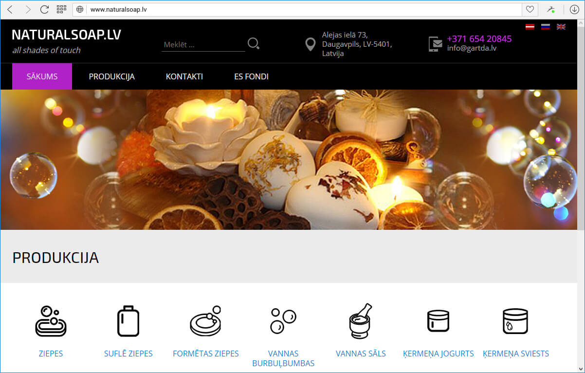 Kompānijas Gartda mājas lapa ar produktu katalogu