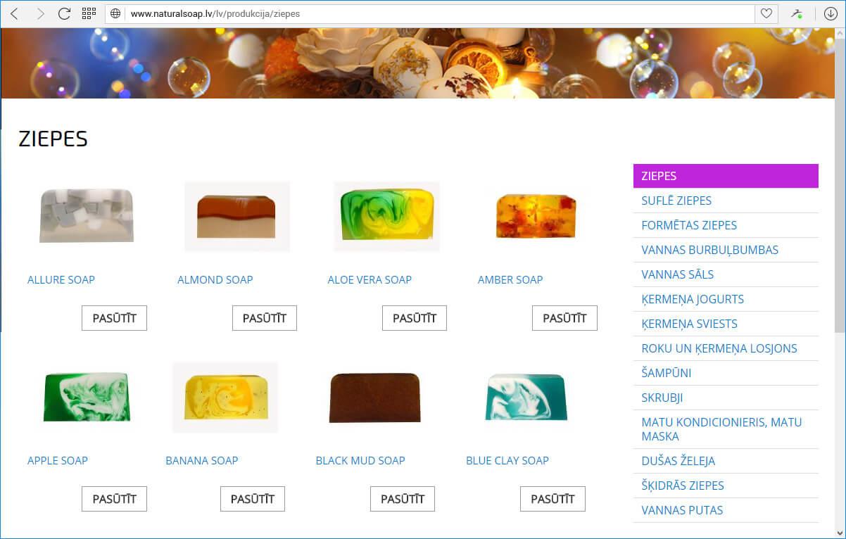 Kompānijas Gartda mājas lapa - katalogs