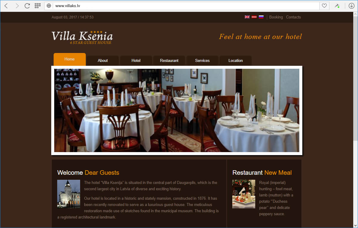 Сайт гостиницы Villa Ksenija