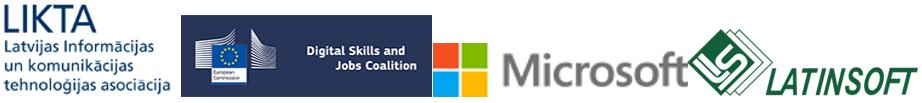 Likto logo, DSJC logo, Microsoft logo, Latinsoft logo
