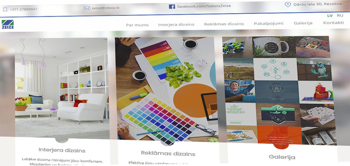 Dizaina studijas «Zeize» mājas lapa