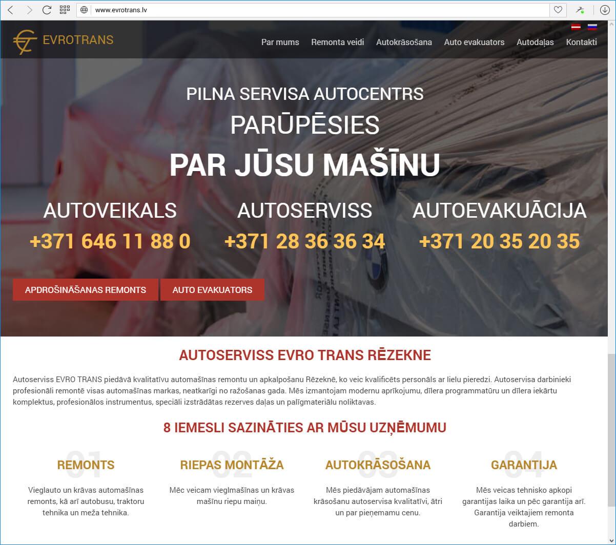 Autoserviss EVRO TRANS - sākumlapa
