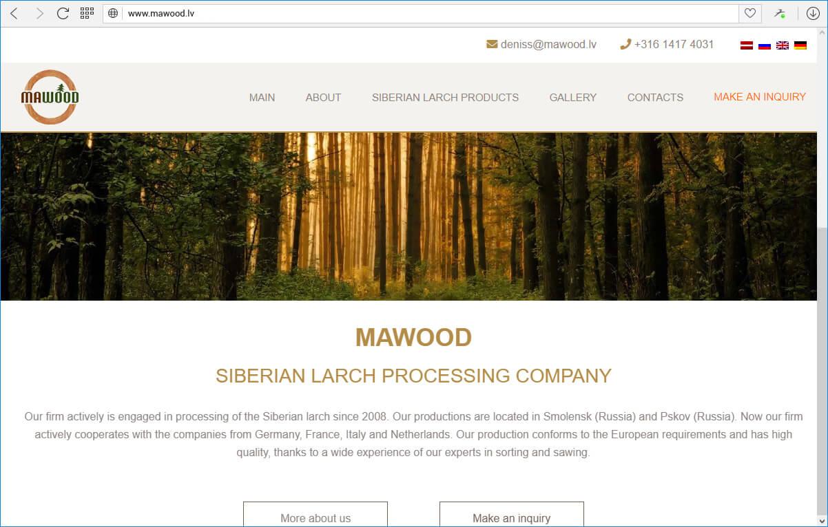 Sibīrijas lapegles pārstrādes uzņēmums Mawood - sākumlapa
