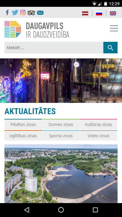 Daugavpils pilsētas domes mājas lapa Daugavpils.lv  - mobila versija