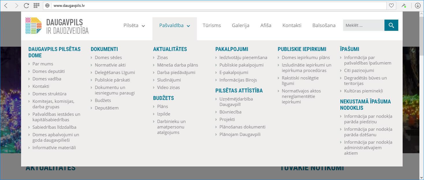 Сайт Даугавпилсской городской думы Daugavpils.lv - меню самоуправление