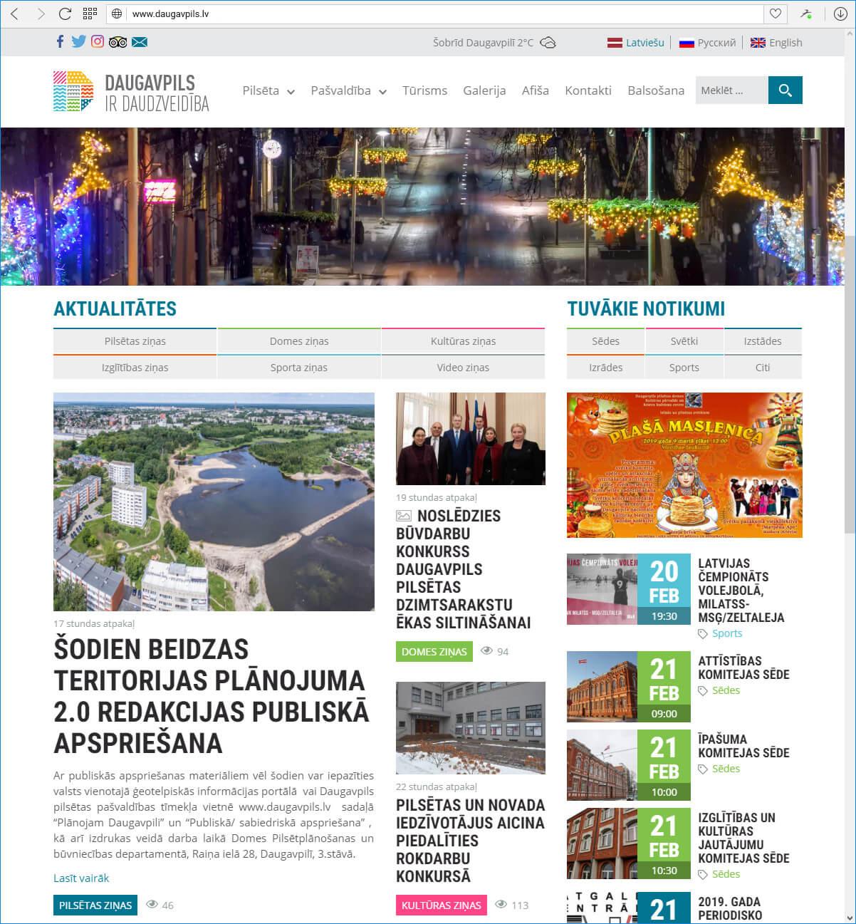 Daugavpils pilsētas domes mājas lapa Daugavpils.lv  - galvena