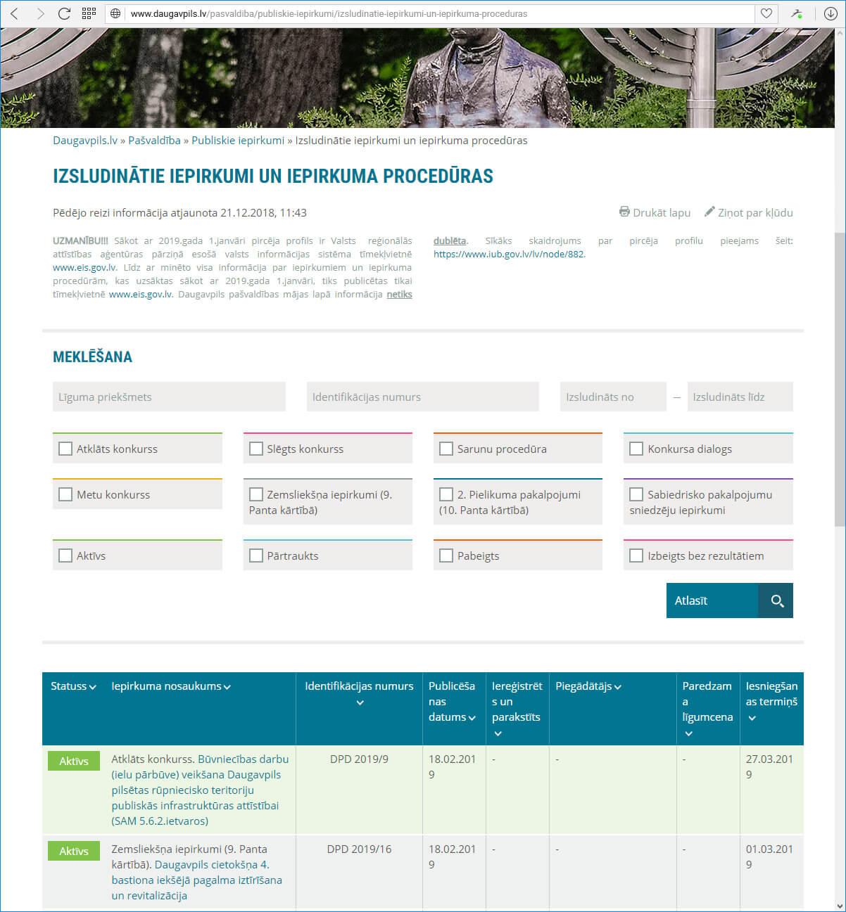 Daugavpils pilsētas domes mājas lapa Daugavpils.lv  - iepirkumi