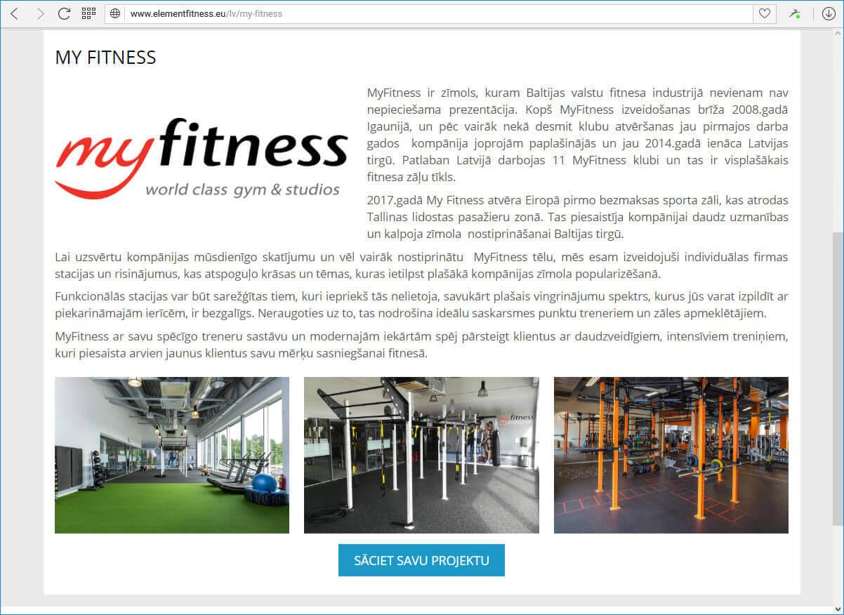 Element Fitness - portfolio