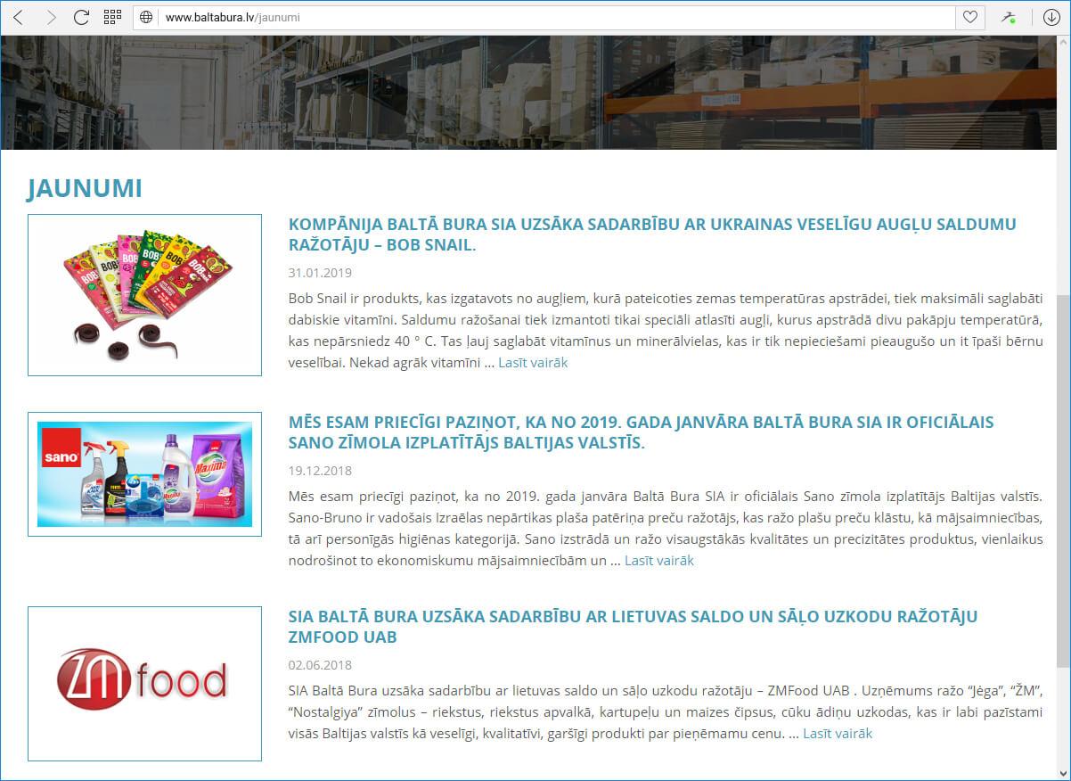 Kompānijas Baltā Bura mājas lapa - jaunumi