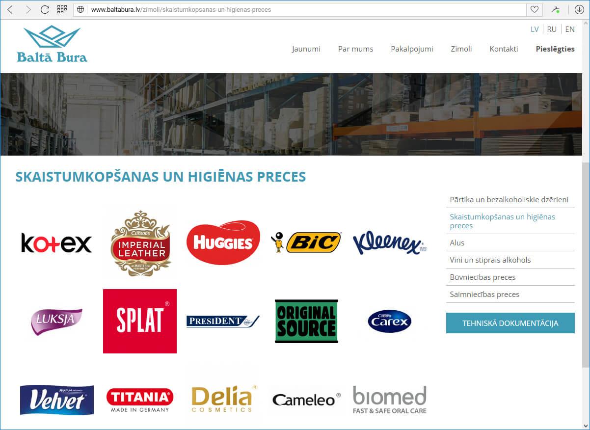 Kompānijas Baltā Bura mājas lapa - katalogs