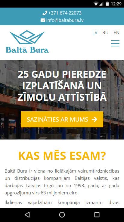 Kompānijas Baltā Bura mājas lapa - mobila versija