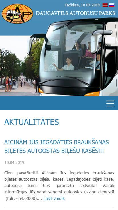 Daugavpils autobusu parks - mobila versija