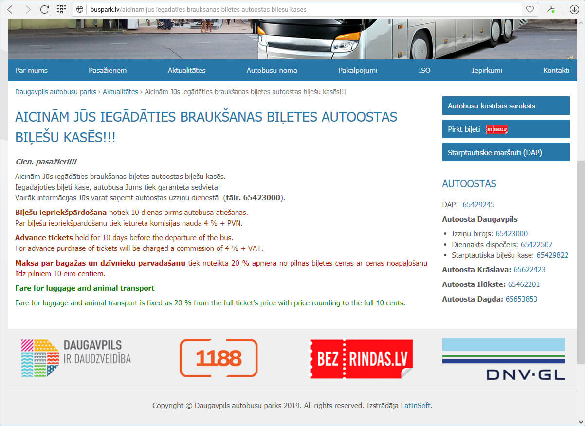 Daugavpils autobusu parks - jaunums
