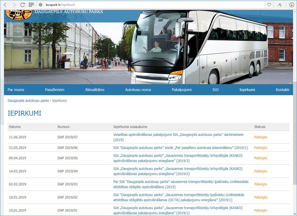 Daugavpils autobusu parks  - iepirkumi