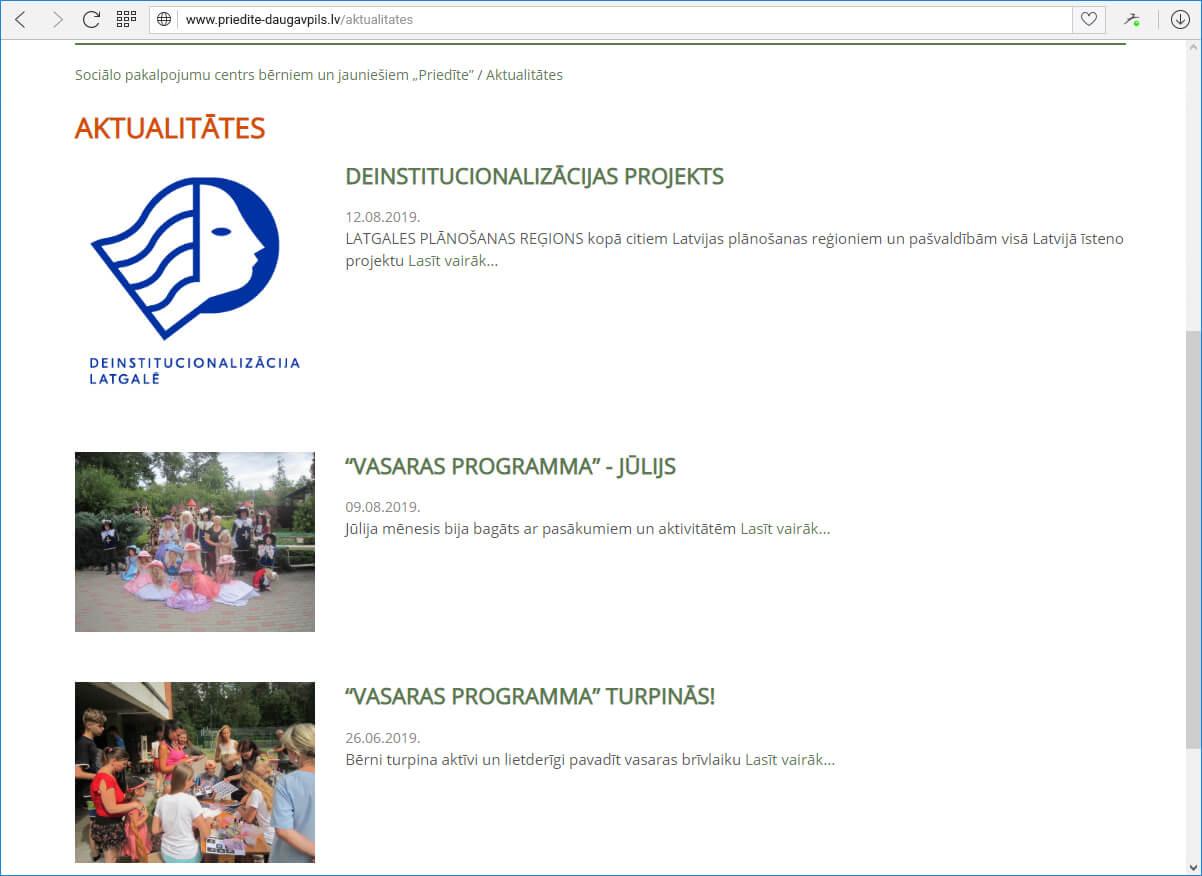 """Sociālo pakalpojumu centrs bērniem un jauniešiem """"Priedīte"""" - jaunumi"""