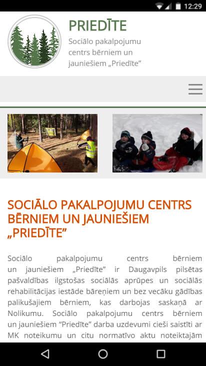 """Sociālo pakalpojumu centrs bērniem un jauniešiem """"Priedīte"""" - mobila versija"""